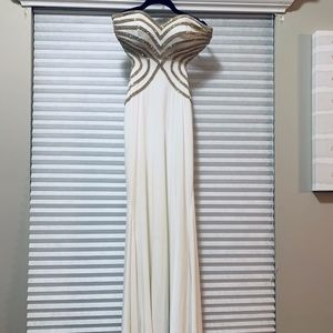 White prom dress with gold rhinestones